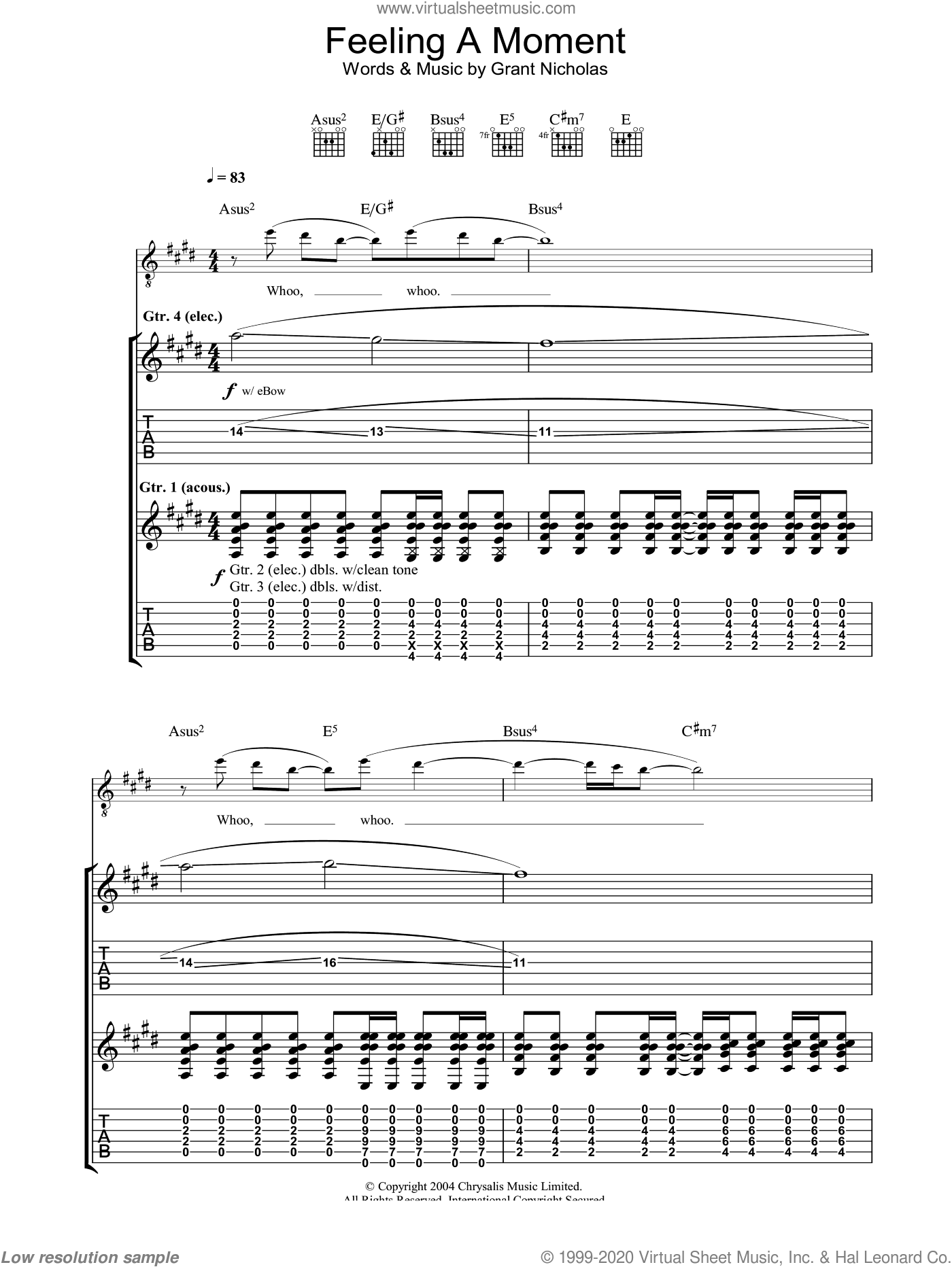 Feeling A Moment sheet music for guitar (tablature) by Grant Nicholas and Feeder. Score Image Preview.