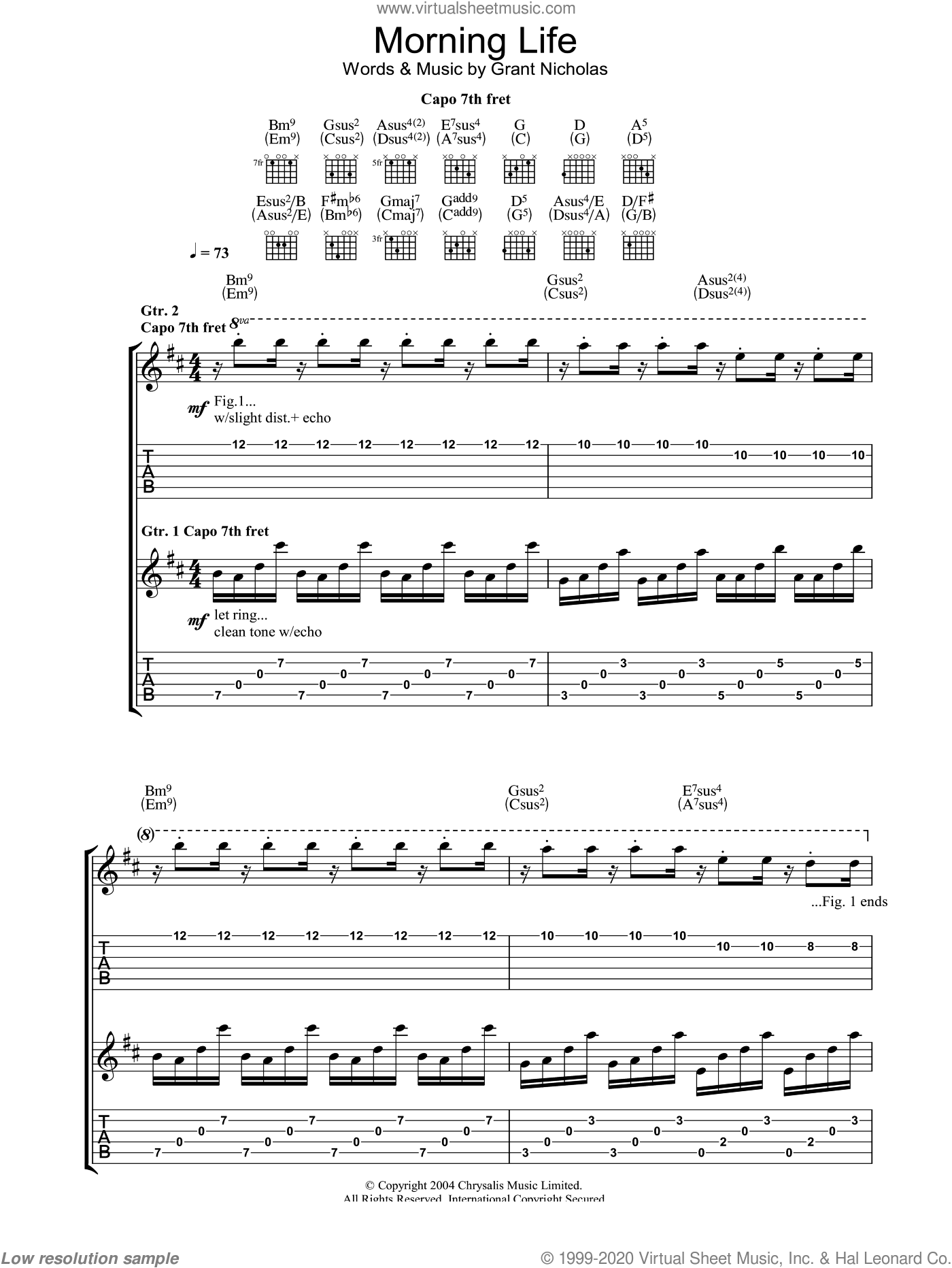 Morning Life sheet music for guitar (tablature) by Grant Nicholas and Feeder