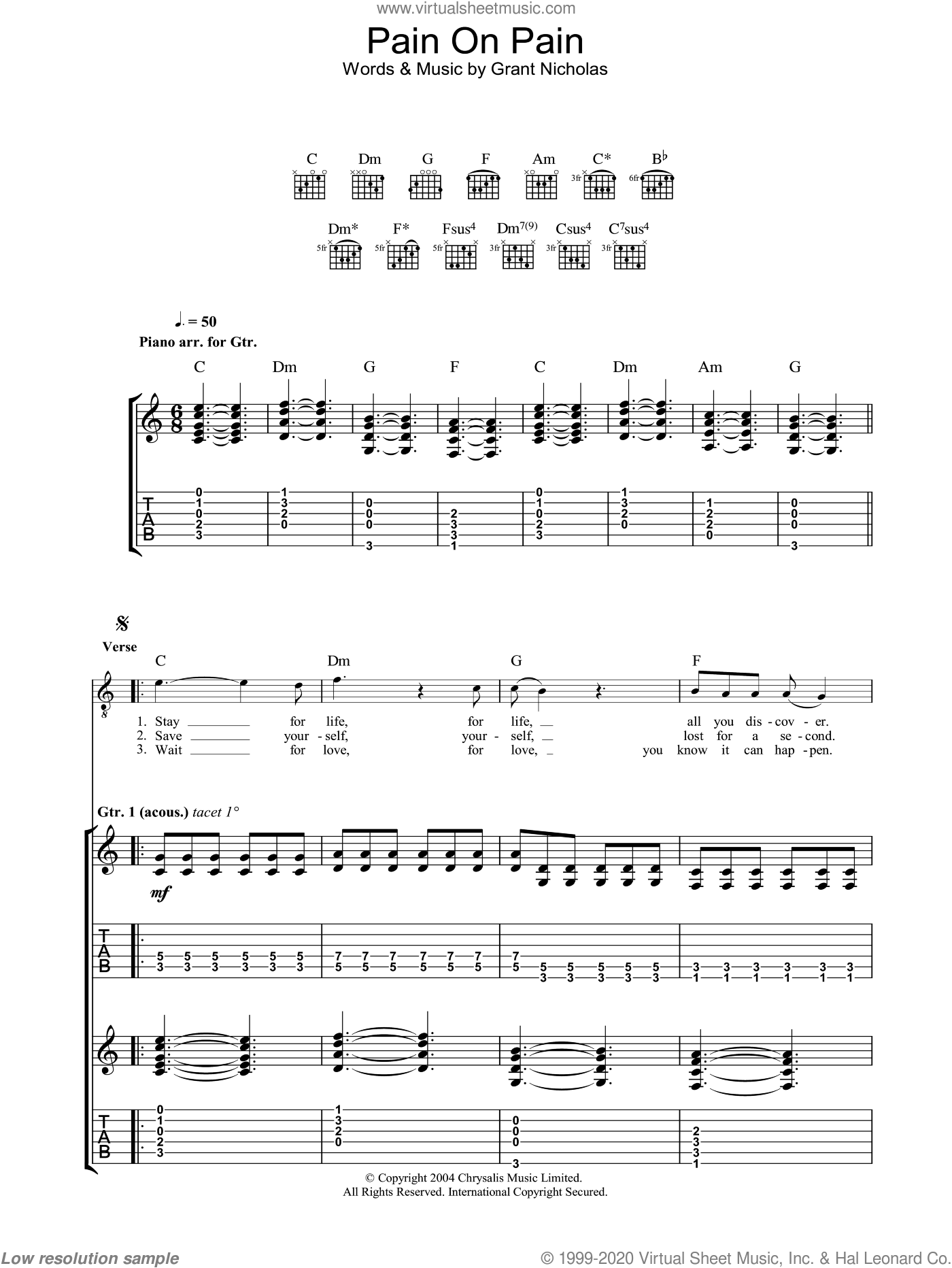 Pain On Pain sheet music for guitar (tablature) by Feeder. Score Image Preview.