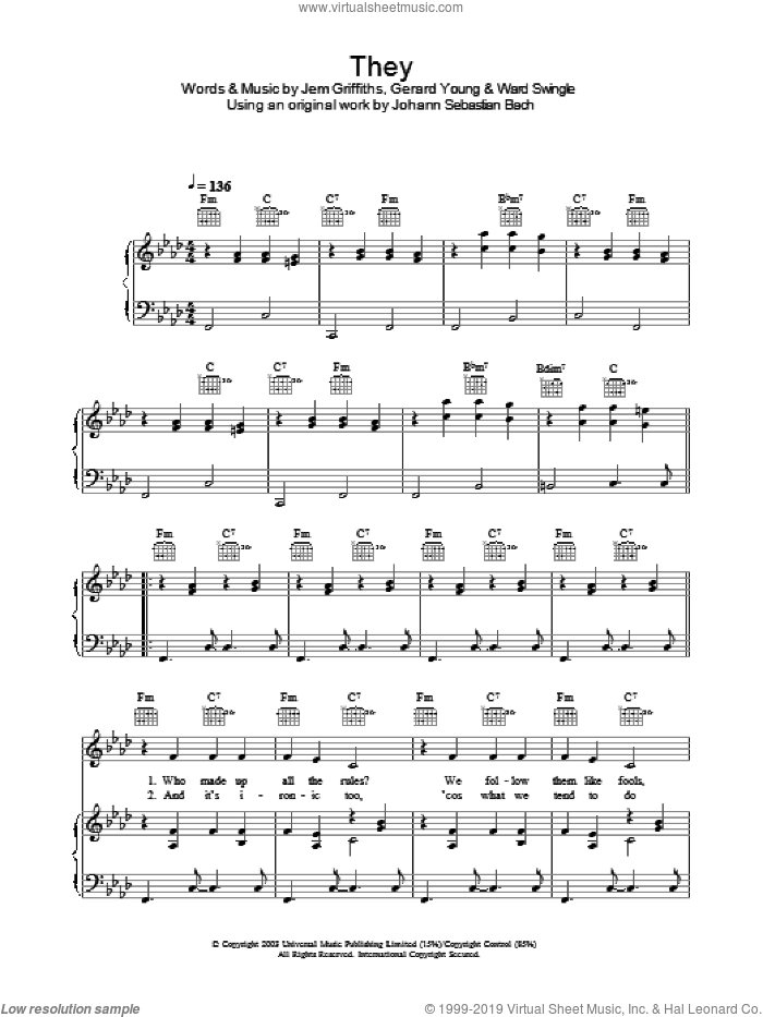 They sheet music for voice, piano or guitar by Ward Swingle and Jem Griffiths. Score Image Preview.