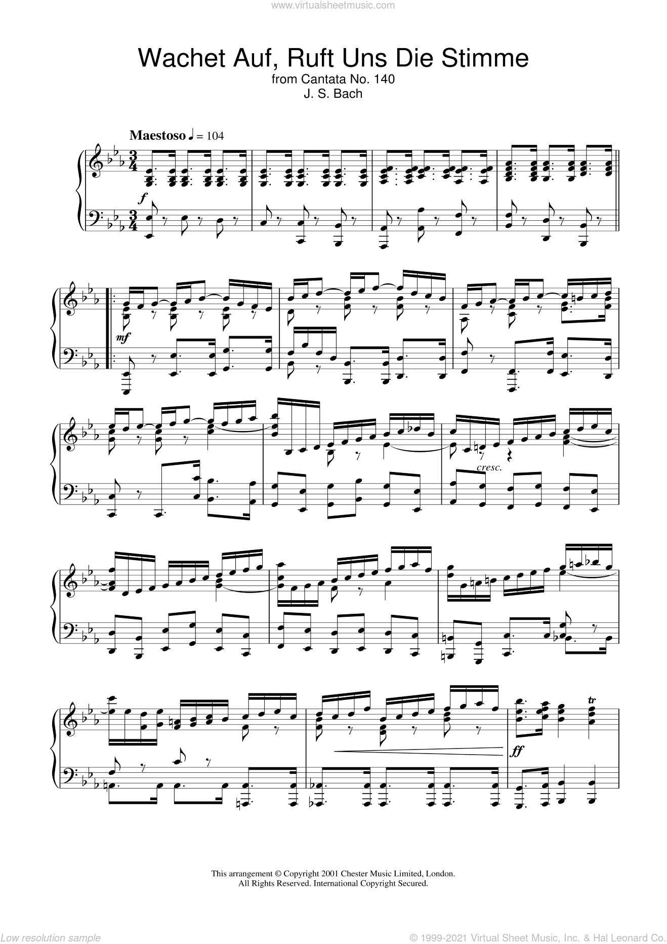 Wachet Auf, Ruft Uns Die Stimme (from Cantata No. 140) sheet music for piano solo by Johann Sebastian Bach, classical score, intermediate piano. Score Image Preview.