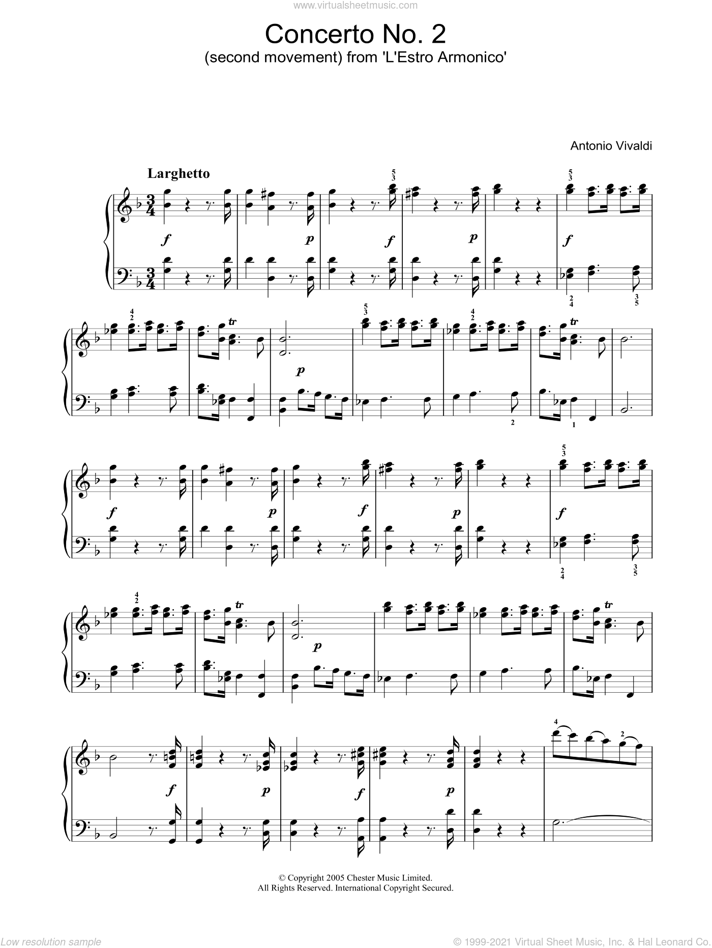 Concerto No.2 (2nd Movement: Larghetto) from 'L'Estro Armonico' Op.3 sheet music for piano solo by Antonio Vivaldi