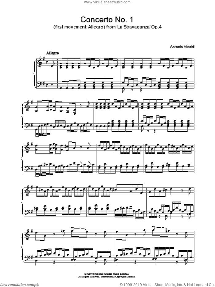Allegro from 'La Stravaganza' Op.4 sheet music for piano solo by Antonio Vivaldi, classical score, intermediate skill level