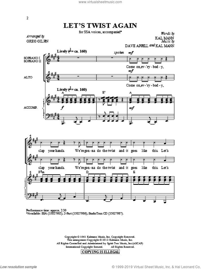 Let's Twist Again sheet music for choir (SSA: soprano, alto) by Greg Gilpin, Dave Appell, Kal Mann and Chubby Checker, intermediate skill level