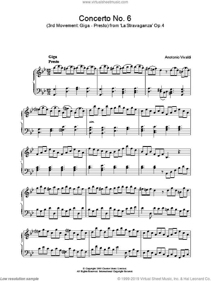 Giga, Presto from 'La Stravaganza' Op.4 sheet music for piano solo by Antonio Vivaldi, classical score, intermediate skill level