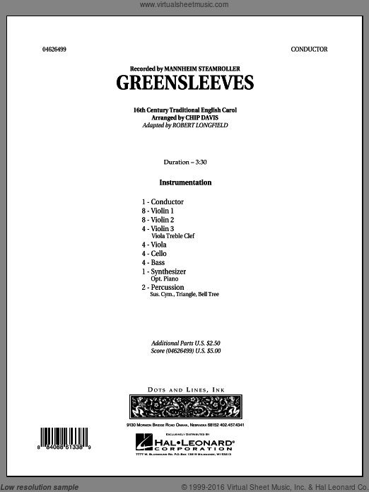Greensleeves (COMPLETE) sheet music for orchestra by Robert Longfield, Chip Davis and Mannheim Steamroller, intermediate. Score Image Preview.