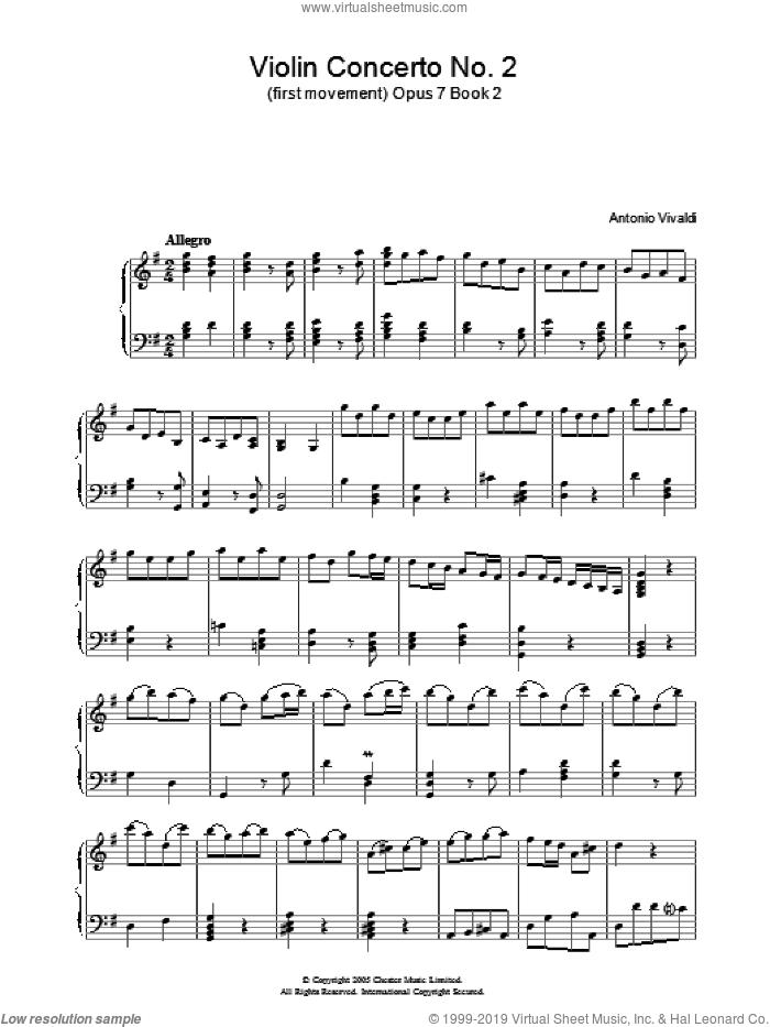 Allegro Op.7, Book 2 sheet music for piano solo by Antonio Vivaldi, classical score, intermediate skill level
