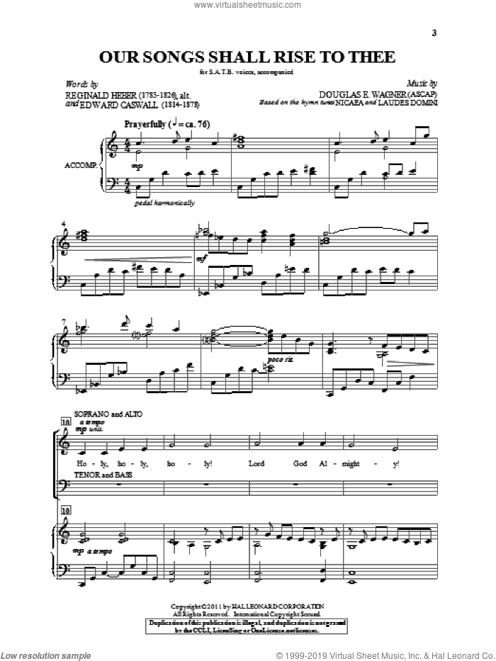 Our Songs Shall Rise To Thee sheet music for choir and piano (SATB) by Edward Casell, Douglas E. Wagner, John Bacchus Dykes, Joseph Barnby and Reginald Heber. Score Image Preview.