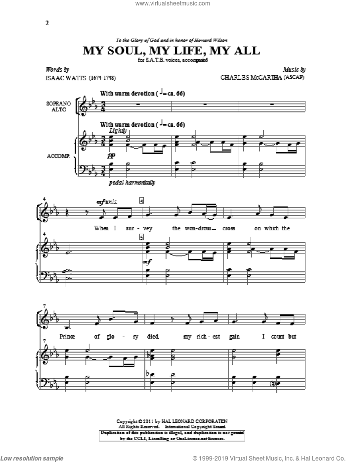 My Soul, My Life, My All sheet music for choir (SATB: soprano, alto, tenor, bass) by Charles McCartha and Isaac Watts, intermediate
