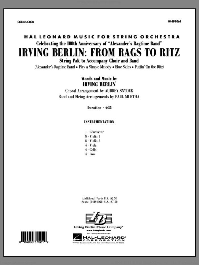 Irving Berlin: From Rags To Ritz (COMPLETE) sheet music for orchestra by Irving Berlin, Audrey Snyder and Paul Murtha, intermediate skill level