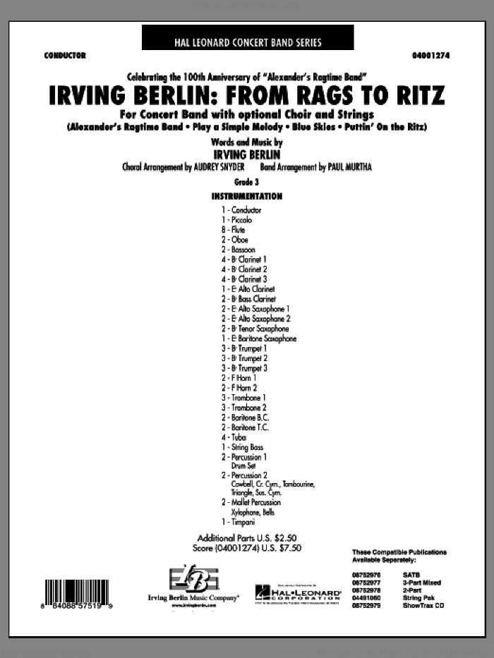 Irving Berlin: From Rags To Ritz (COMPLETE) sheet music for concert band by Irving Berlin, Audrey Snyder and Paul Murtha, intermediate skill level