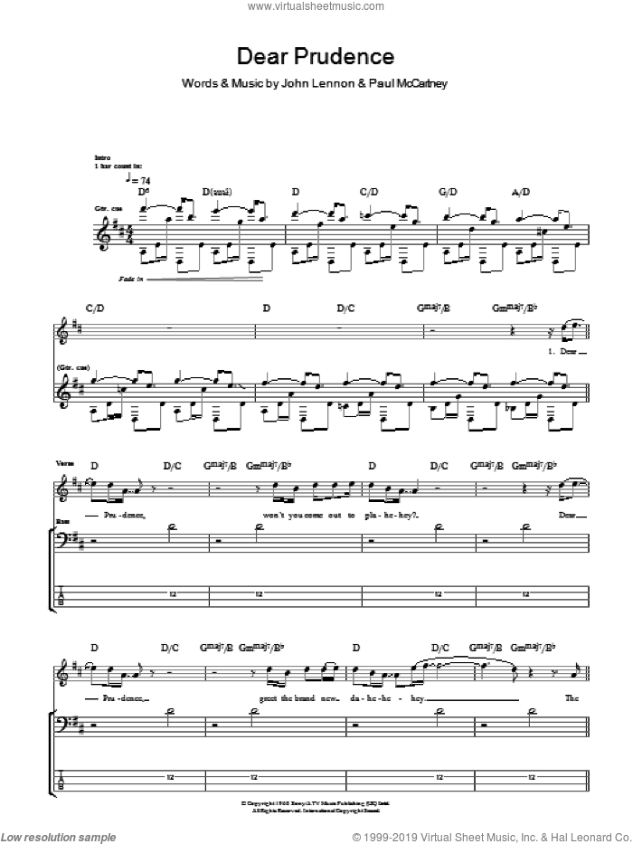 Dear Prudence sheet music for bass (tablature) (bass guitar) by The Beatles, John Lennon and Paul McCartney, intermediate skill level