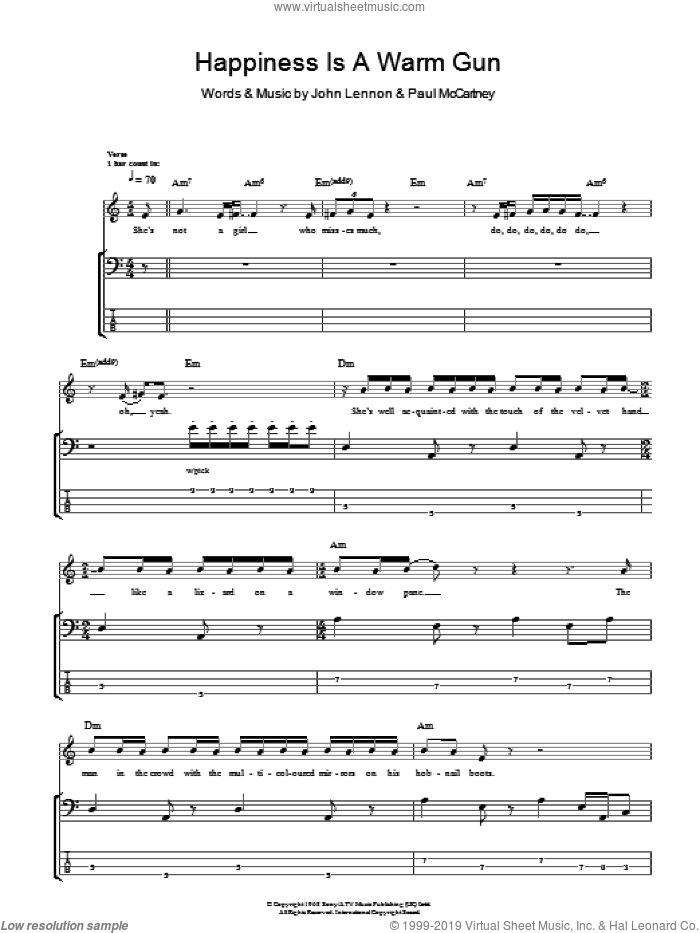 Happiness Is A Warm Gun sheet music for bass (tablature) (bass guitar) by Paul McCartney, The Beatles and John Lennon. Score Image Preview.