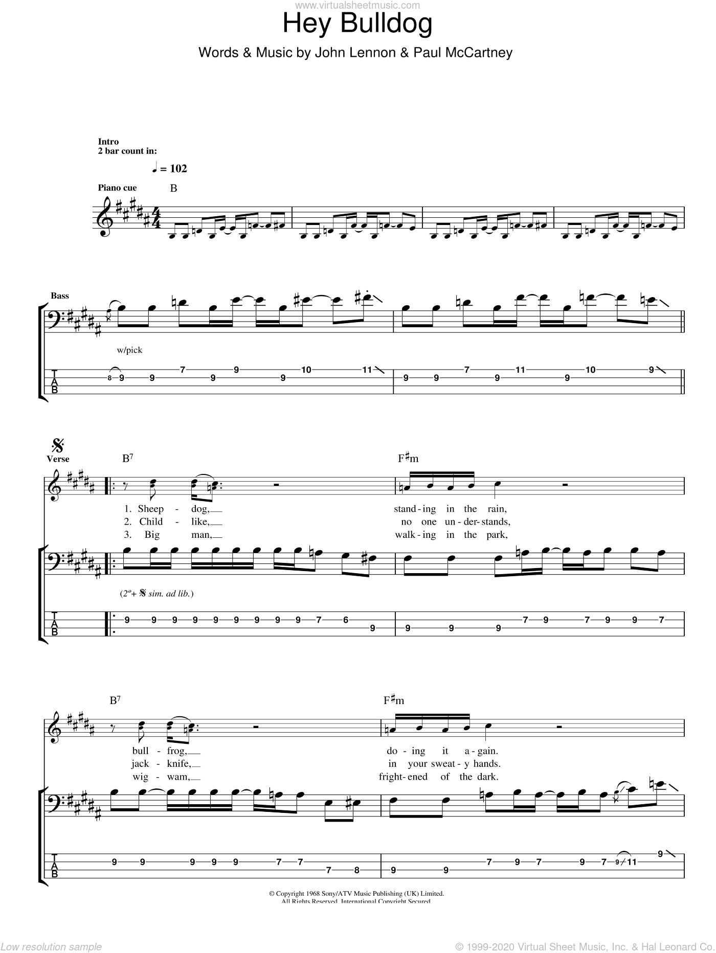 Hey Bulldog sheet music for bass (tablature) (bass guitar) by Paul McCartney, The Beatles and John Lennon. Score Image Preview.