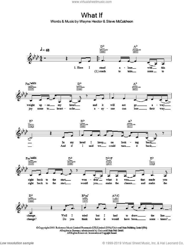 What If sheet music for voice and other instruments (fake book) by Kate Winslet and Wayne Hector. Score Image Preview.