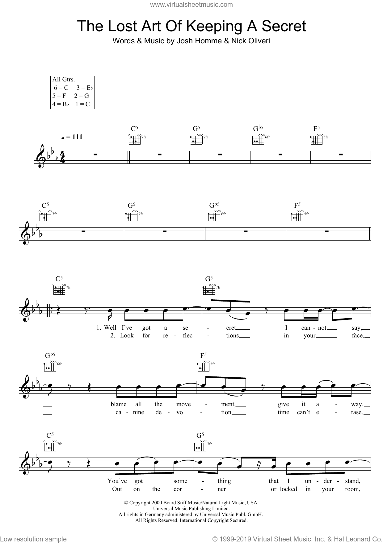 The Lost Art Of Keeping A Secret sheet music for voice and other instruments (fake book) by Queens Of The Stone Age. Score Image Preview.