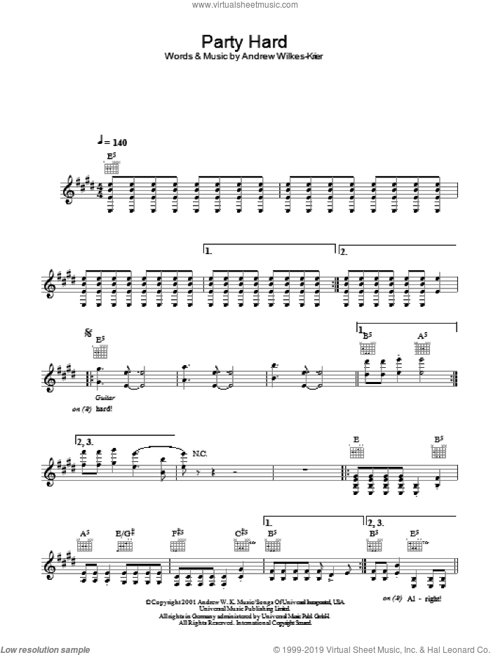 Party Hard sheet music for voice and other instruments (fake book) by Andew W.K., intermediate voice. Score Image Preview.