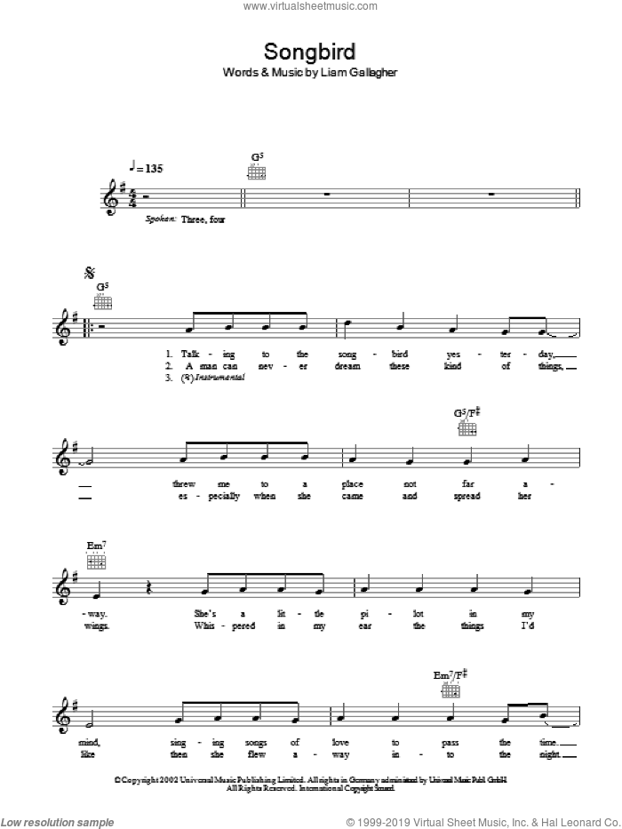 Songbird sheet music for voice and other instruments (fake book) by Liam Gallagher and Oasis. Score Image Preview.