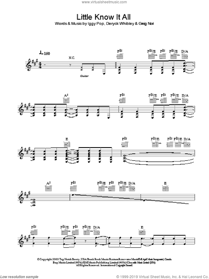 Little Know It All sheet music for voice and other instruments (fake book) by Iggy Pop & Sum 41, Sum 41, Deryck Whibley, Greig Nori and Iggy Pop, intermediate skill level