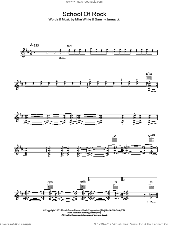 School Of Rock (from School of Rock: The Musical) sheet music for voice and other instruments (fake book) by Jack Black, School Of Rock (Movie), Mike White, Mike White and Samuel Buonaugurio, Sammy James Jr. and Samuel Buonaugurio, intermediate skill level