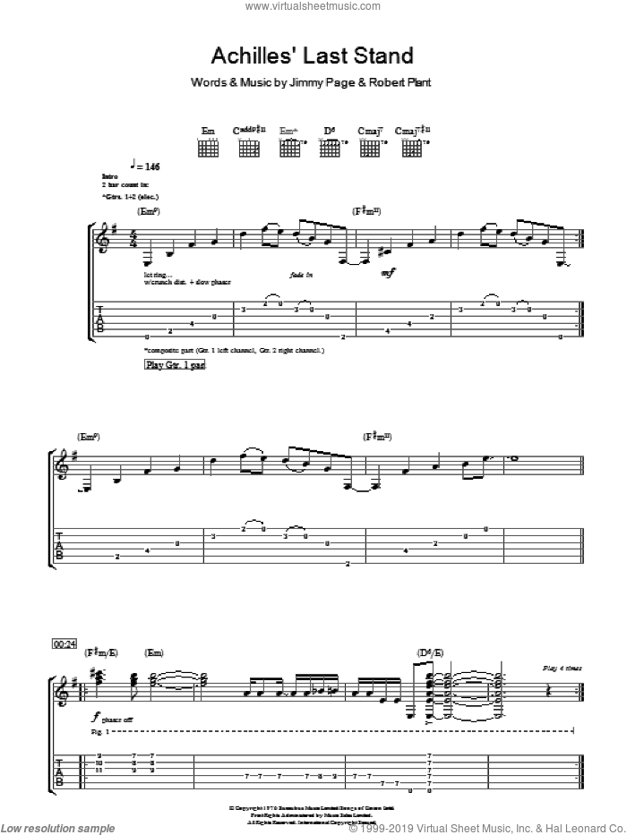Achilles Last Stand sheet music for guitar (tablature) by Led Zeppelin, Jimmy Page and Robert Plant, intermediate skill level