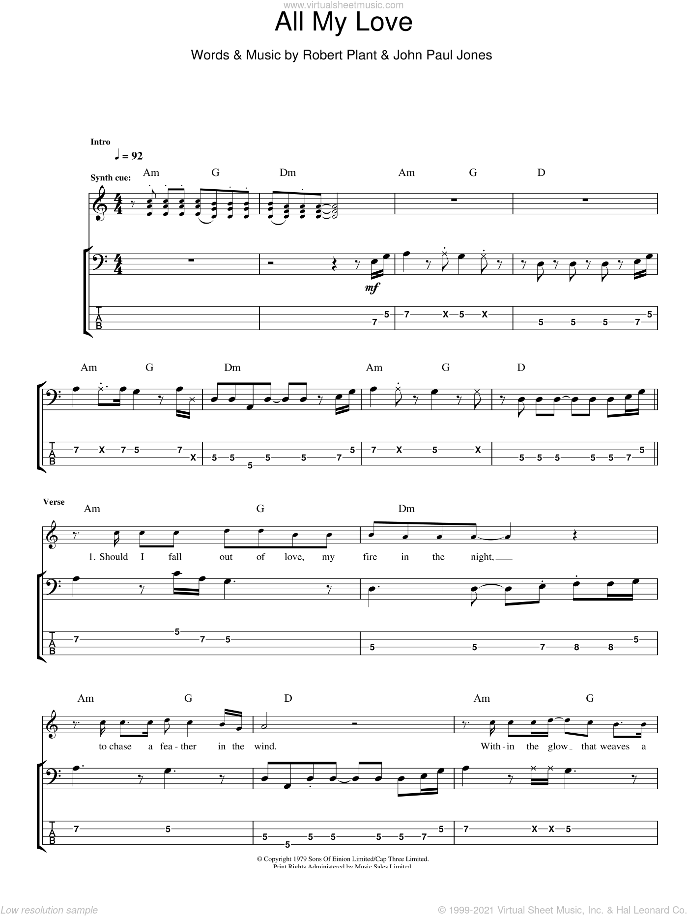 All My Love sheet music for bass (tablature) (bass guitar) by Robert Plant, Led Zeppelin and John Paul Jones. Score Image Preview.