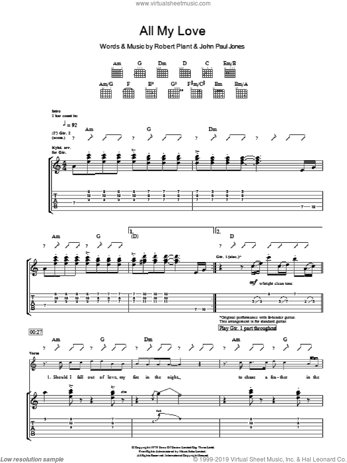 All My Love sheet music for guitar (tablature) by Led Zeppelin, John Paul Jones and Robert Plant. Score Image Preview.