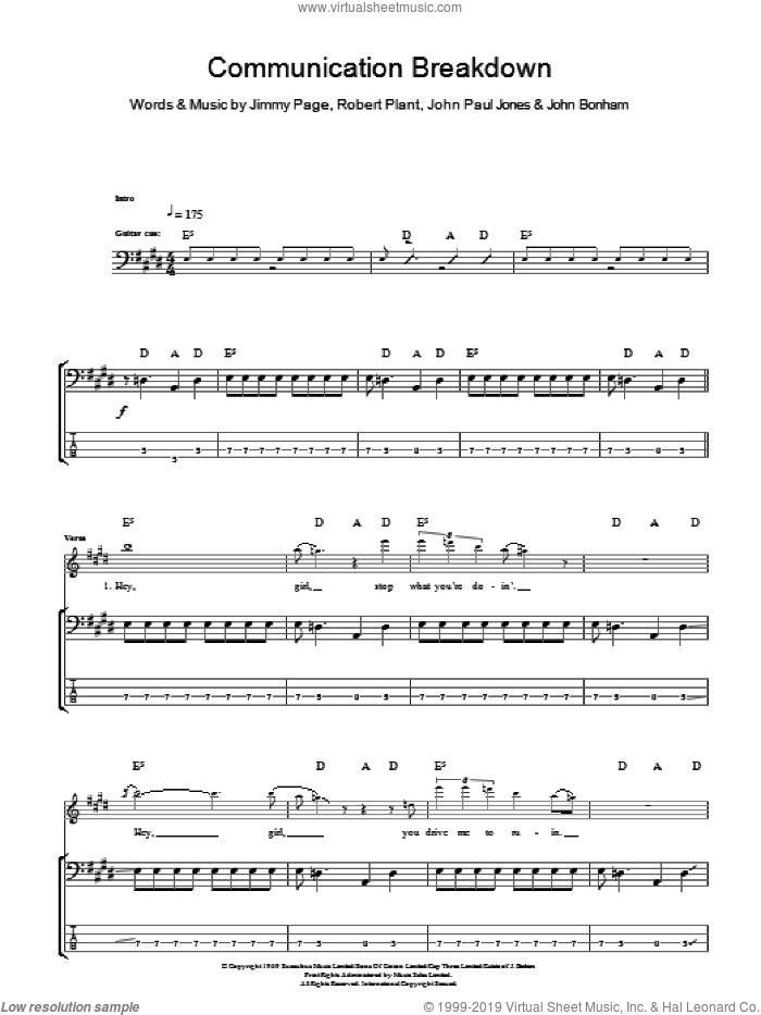 Communication Breakdown sheet music for bass (tablature) (bass guitar) by Led Zeppelin, Jimmy Page, John Bonham, John Paul Jones and Robert Plant, intermediate skill level