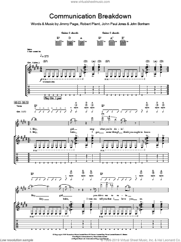 Communication Breakdown sheet music for guitar (tablature) by Robert Plant