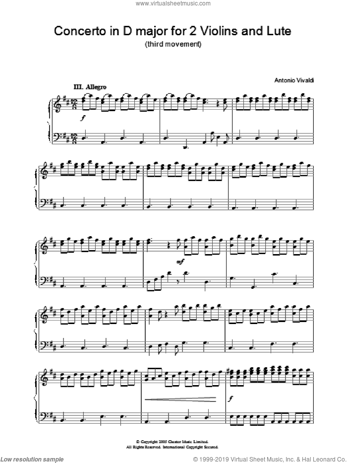 Concerto in D major for 2 Violins and Lute (third movement) sheet music for piano solo by Antonio Vivaldi. Score Image Preview.