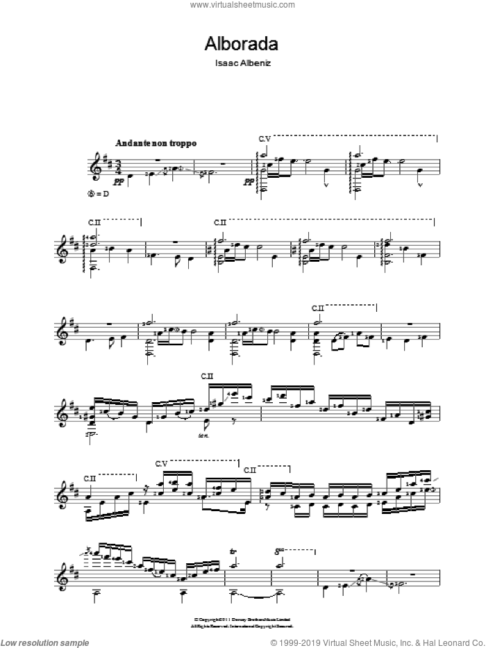 Alborada sheet music for guitar solo (chords) by Isaac Albeniz, classical score, easy guitar (chords)