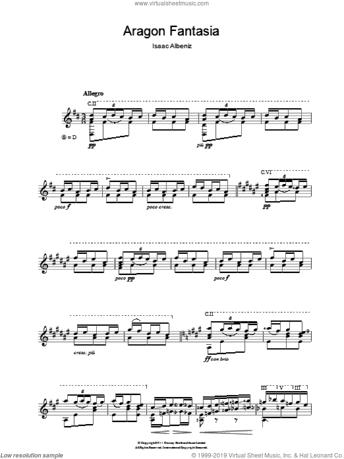 Aragon Fantasia sheet music for guitar solo (chords) by Isaac Albeniz, classical score, easy guitar (chords)