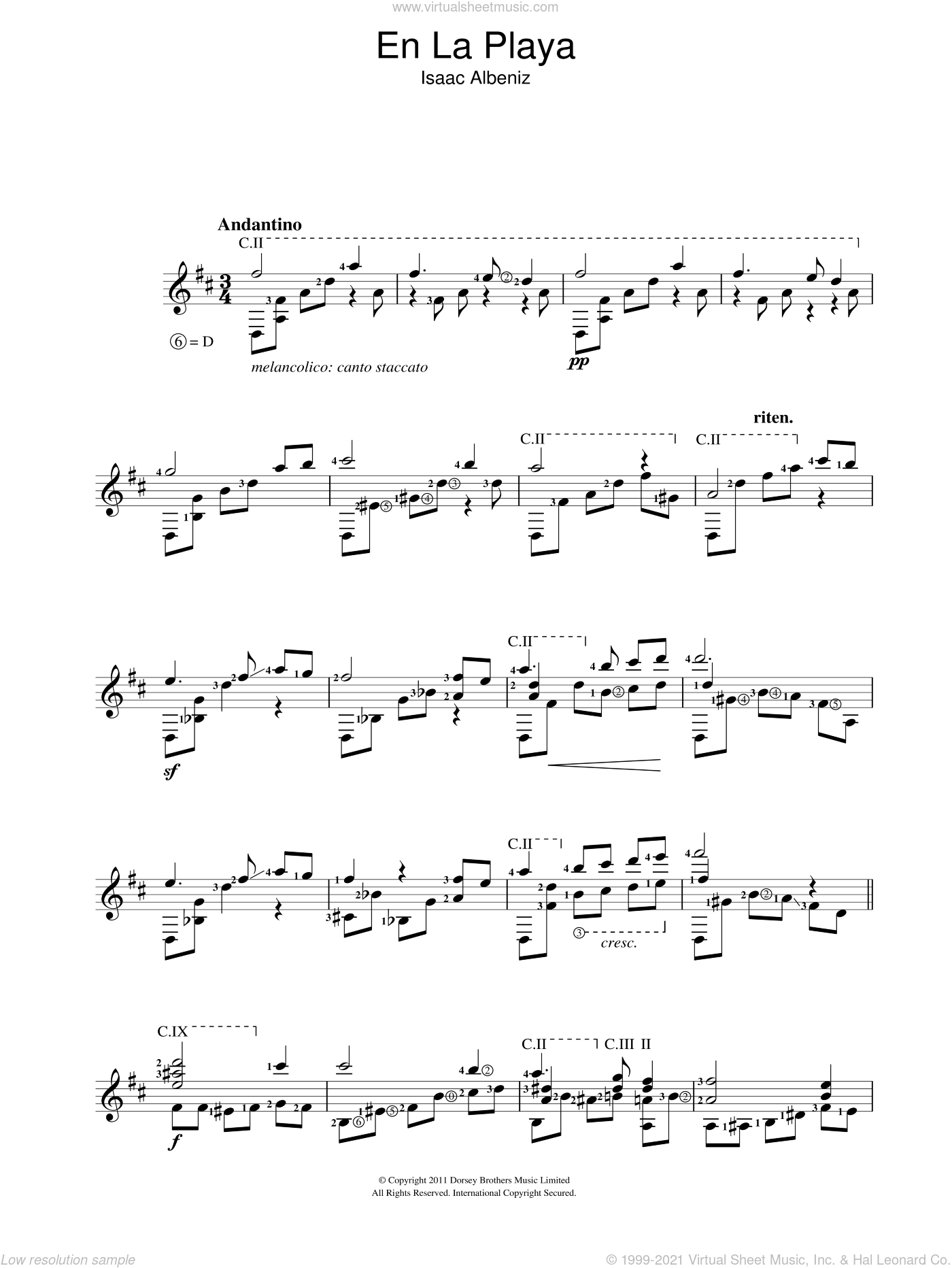 En La Playa sheet music for guitar solo (chords) by Isaac Albeniz. Score Image Preview.