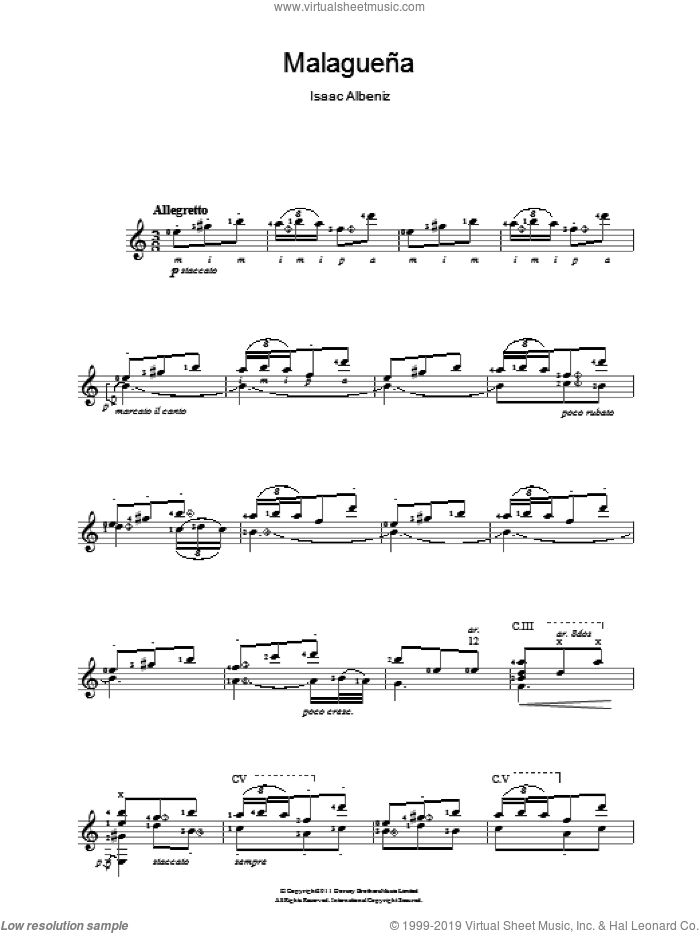 Malaguena sheet music for guitar solo (chords) by Isaac Albeniz, classical score, easy guitar (chords)