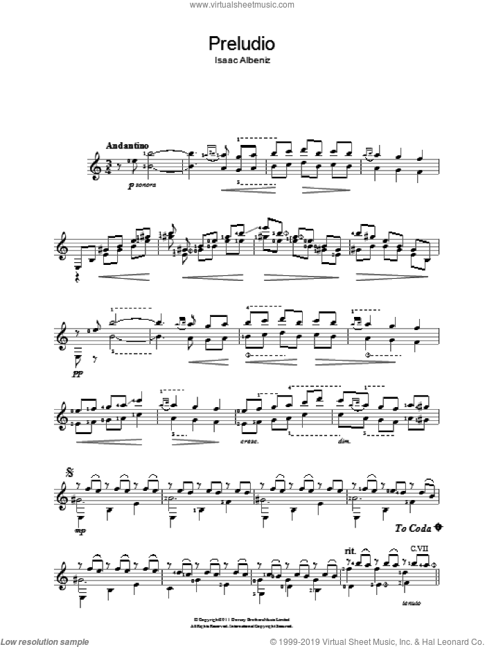Preludio sheet music for guitar solo (chords) by Isaac Albeniz
