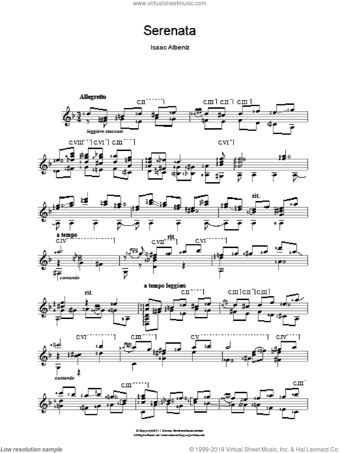 Serenata sheet music for guitar solo (chords) by Isaac Albeniz. Score Image Preview.