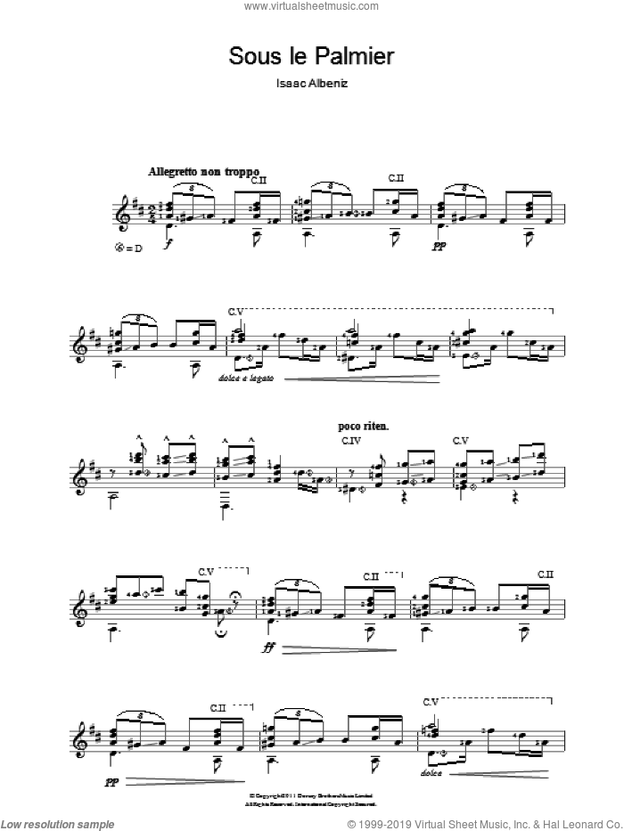 Sous Le Palmier sheet music for guitar solo (chords) by Isaac Albeniz, classical score, easy guitar (chords)
