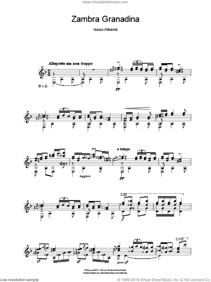 Zambra Granadina sheet music for guitar solo (chords) by Isaac Albeniz, classical score, easy guitar (chords)