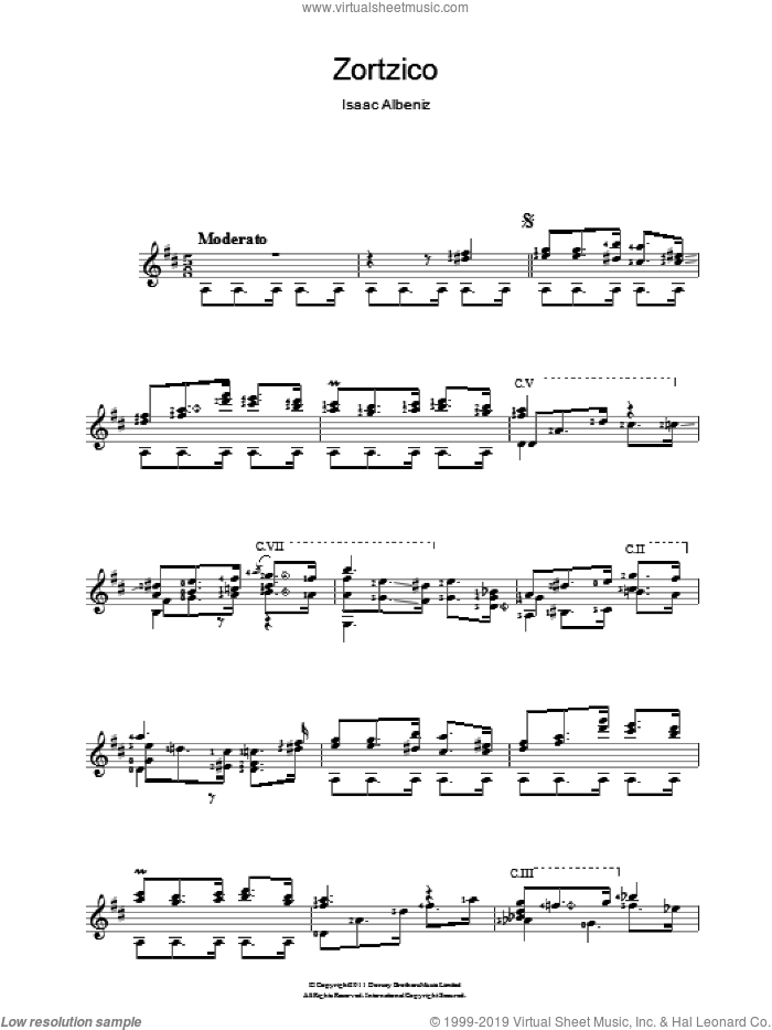 Zortzico sheet music for guitar solo (chords) by Isaac Albeniz, classical score, easy guitar (chords)