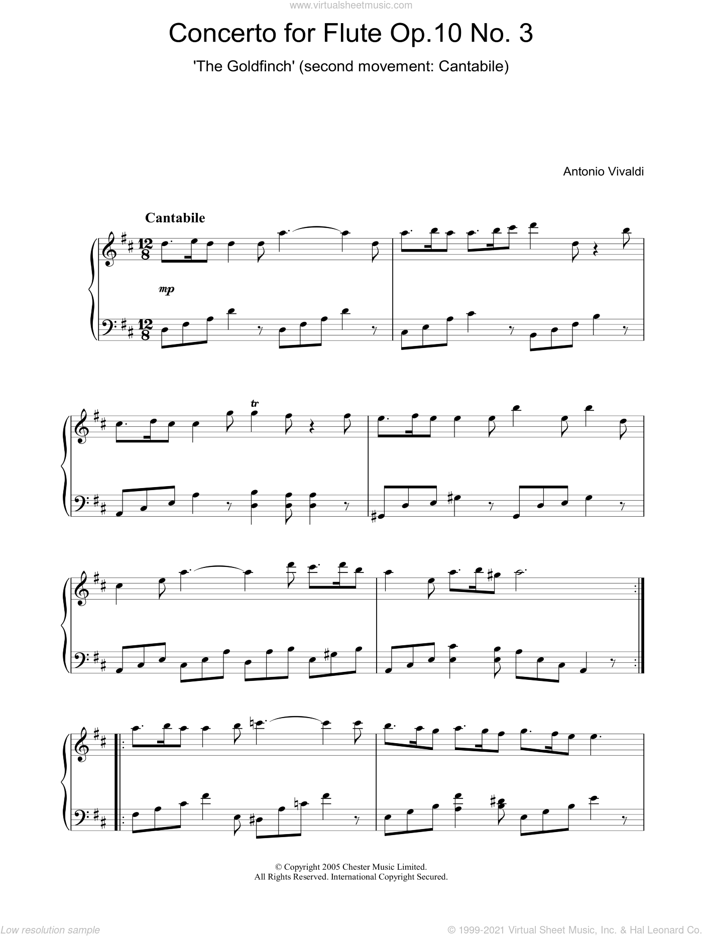 Concerto for Flute Op.10, No.3 'The Goldfinch' (2nd Movement: Cantabile) sheet music for piano solo by Antonio Vivaldi. Score Image Preview.