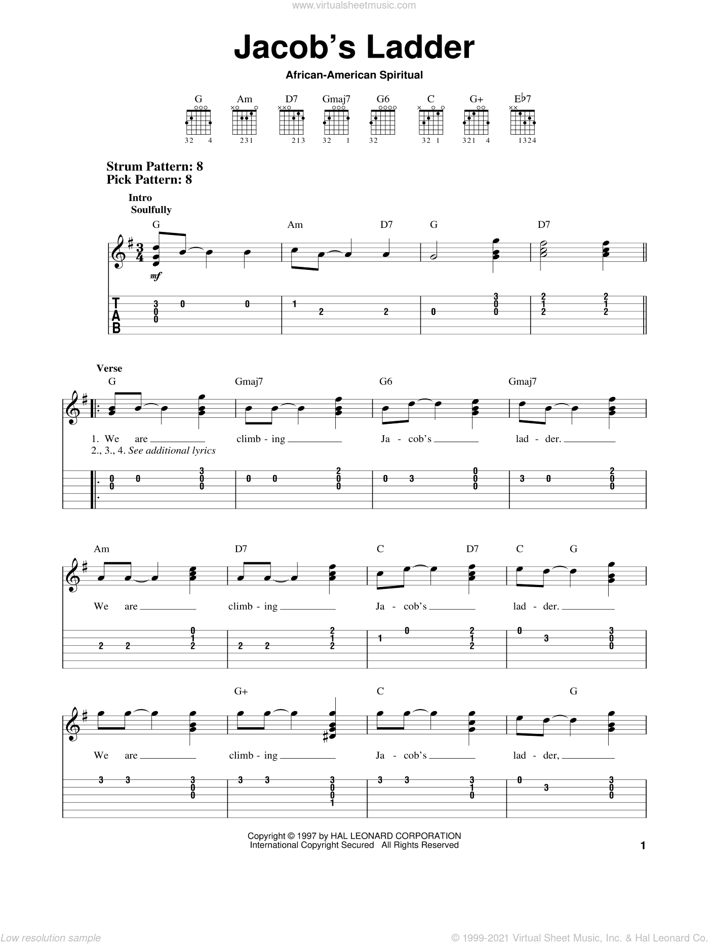We Are Climbing Jacob's Ladder sheet music for guitar solo (easy tablature). Score Image Preview.