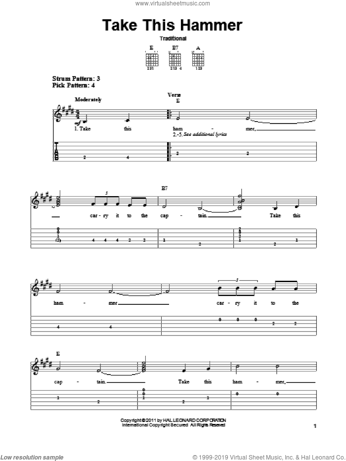 Take This Hammer sheet music for guitar solo (easy tablature). Score Image Preview.