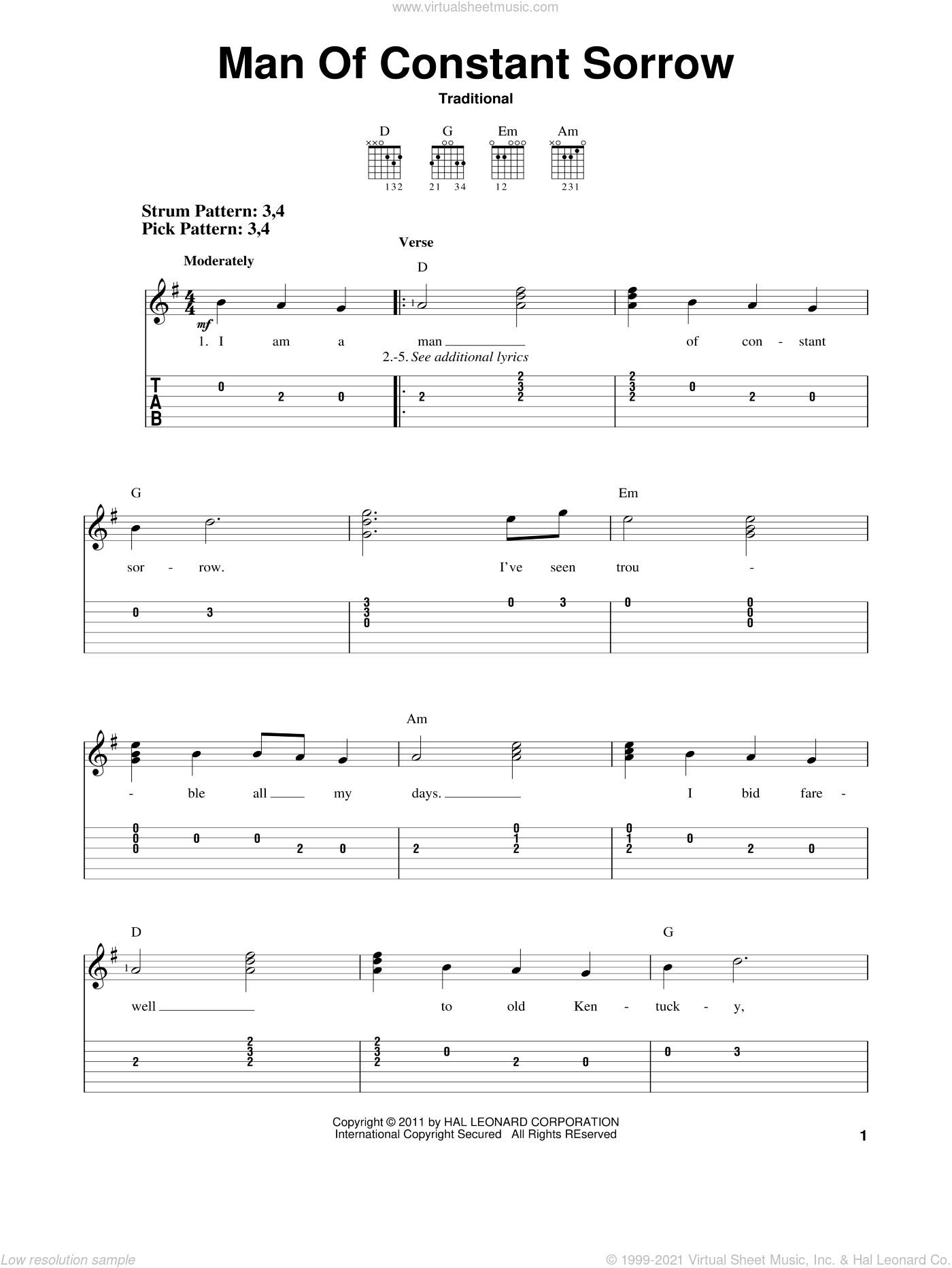 Man Of Constant Sorrow sheet music for guitar solo (easy tablature). Score Image Preview.