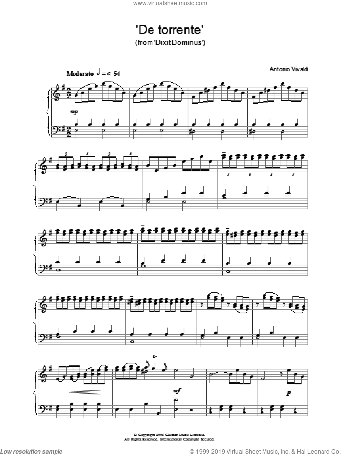 'De Torrente' (from 'Dixit Dominus') sheet music for piano solo by Antonio Vivaldi. Score Image Preview.