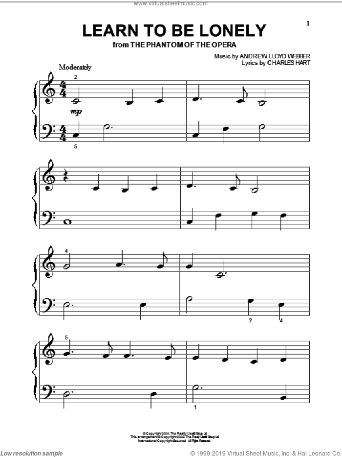 Learn To Be Lonely sheet music for piano solo (big note book) by Andrew Lloyd Webber, The Phantom Of The Opera (Musical) and Charles Hart, easy piano (big note book)