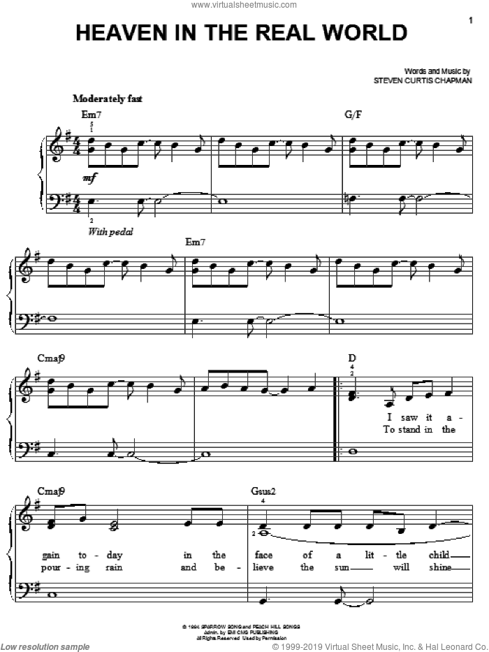 Heaven In The Real World sheet music for piano solo by Steven Curtis Chapman, easy. Score Image Preview.