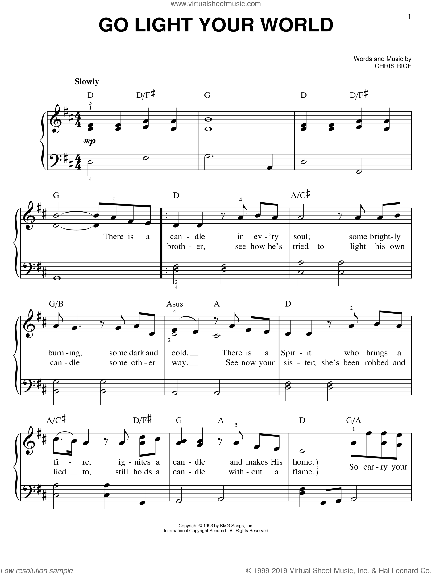 Go Light Your World sheet music for piano solo by Kathy Troccoli and Chris Rice, easy skill level