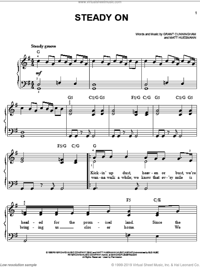 Steady On sheet music for piano solo by Point Of Grace, Grant Cunningham and Matt Huesmann, easy skill level