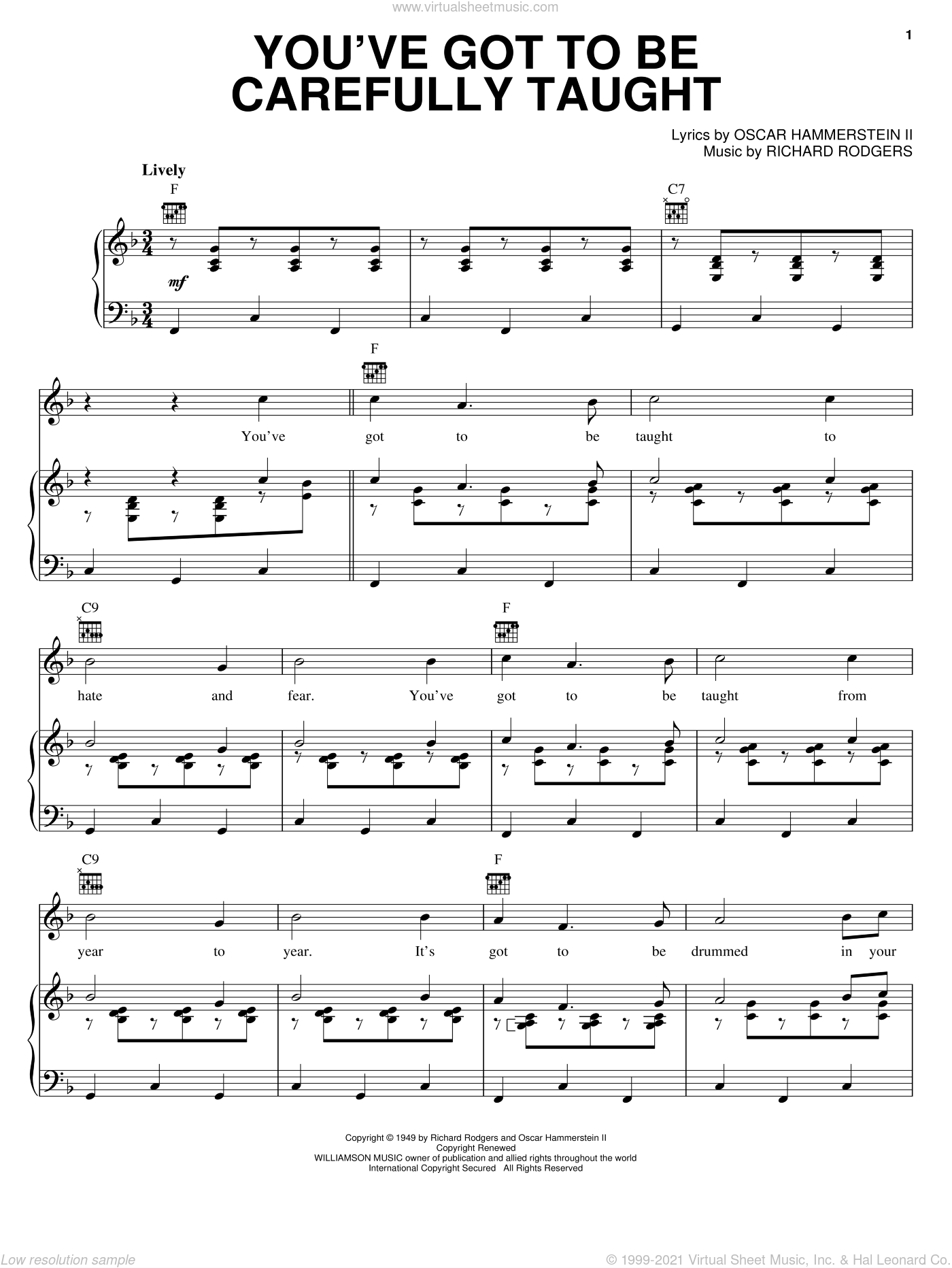 You've Got To Be Carefully Taught sheet music for voice, piano or guitar by Rodgers & Hammerstein, South Pacific (Musical), Oscar II Hammerstein and Richard Rodgers, intermediate skill level