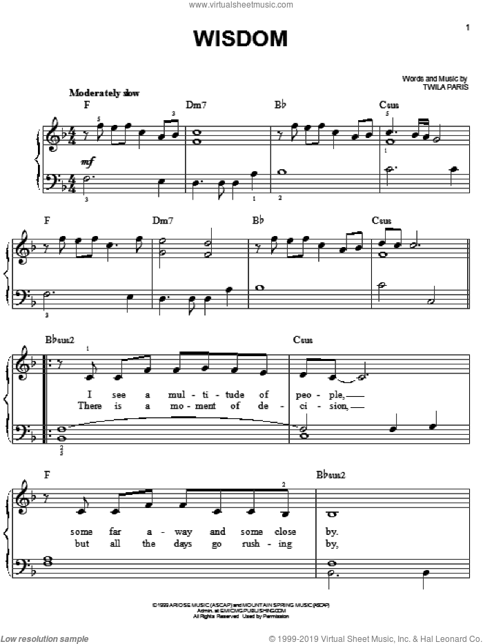 Wisdom sheet music for piano solo by Twila Paris, easy skill level